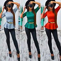 Блузка с баской и поясом 5 цветов SRb174