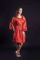"""Платье вышитое фасон № 2 """"Полтава"""" лён ( арт. PK 2.2.1k-313 ), фото 1"""