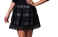 Женская кожанная юбка с гипюром  р.  S-M