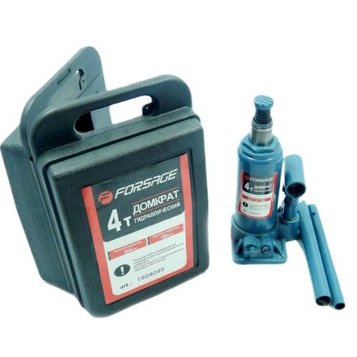 Домкрат бутылочный FORSAGE T90404S 4т с клапаном (180-340мм) в кейсе