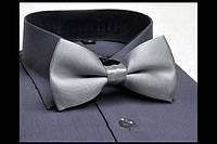 Классический галстук - бабочка, светло-серый