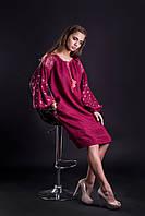 Льняное платье бордо с  вышивкой