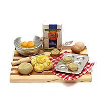 DollHouse миниатюрную кухня пекарня пищевые яйца молоко хлеб на борту масштабе 1/12