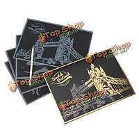 Царапина мир достопримечательностями poastcard бумага искусства подарок сувенир декор