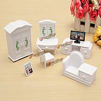 Гостиная спальня обеденный стол Dollhouse Miniatures Комплект мебели