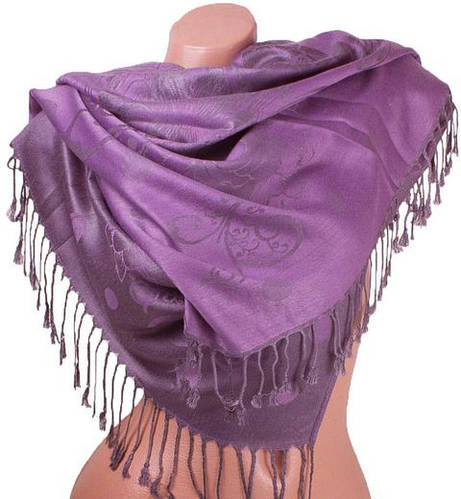 Потрясающий женский двусторонний палантин из пашмины 179 на 71 см ETERNO ES2707-6-11 фиолетовый