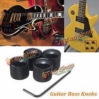 4шт черный металлический купол стиль электрическая гитара бас ручки с ключом
