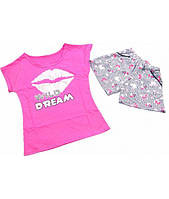 Пижама для девочки Губки, футболка и шорты, стрейч-хлопок, р.р.40-54