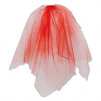 Фата на девичник красная с бусинами на заколке.