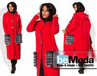 Необычный женский кардиган из трикотажа вязки с оригинальными меховыми карманами красный