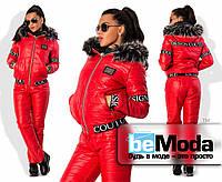 Необычный женский утепленный костюм из куртки с капюшоном и брюк из стеганной плащевки на синтепоне с декоративными надписями красный