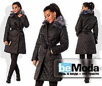 Привлекательное женское пальто из стеганной плащевки на синтепоне с поясом на талии и теплым капюшоном с мехом черное