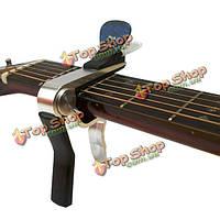 Серебряный сплав акустическая электрическая классическая гитара капо тюнер с держател зубка