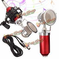 Красный конденсатор динамический микрофон студия звукозаписи подвес