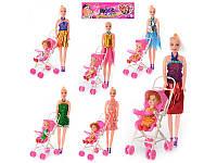 Кукла 68003 A 27см,с коляской 10-17,5-7см,,дочка 10,5см, микс видов, в кульке, 33-22-7см