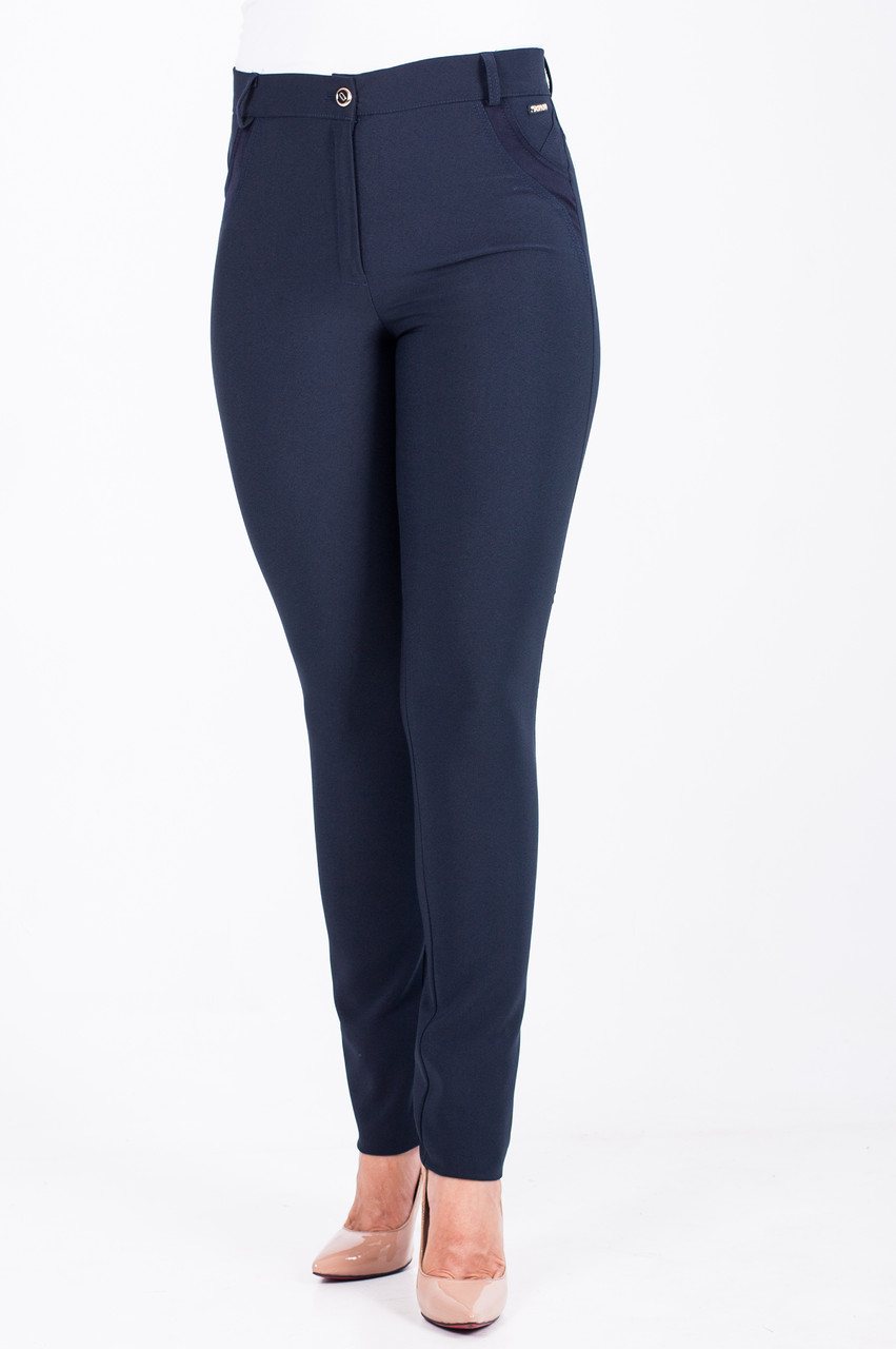 Женские зауженные брюки Беатрис синего цвета