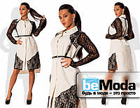 Необычное женское платье рубашечного кроя из приятного коттона с кружевными вставками и портупеей из экокожи в комплекте бежевое