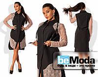 Необычное женское платье рубашечного кроя из приятного коттона с кружевными вставками и портупеей из экокожи в комплекте черное