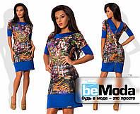 """Стильное женское платье по фигуре с принтом """"картина"""" и блестящей молнией по спинке синее"""