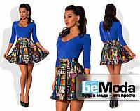 Кокетливое женское платье с однотонным облегающим верхом и клешной юбкой с ярким принтом 3D цвета электрик