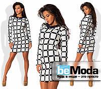 Привлекательное женское платье приталенного кроя с маленьким рубашечным воротником с геометрическим принтом бе