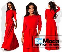 Нарядное женское платье из креп-дайвинга длиной в пол с клешной юбкой и рукавами 3/4 красное
