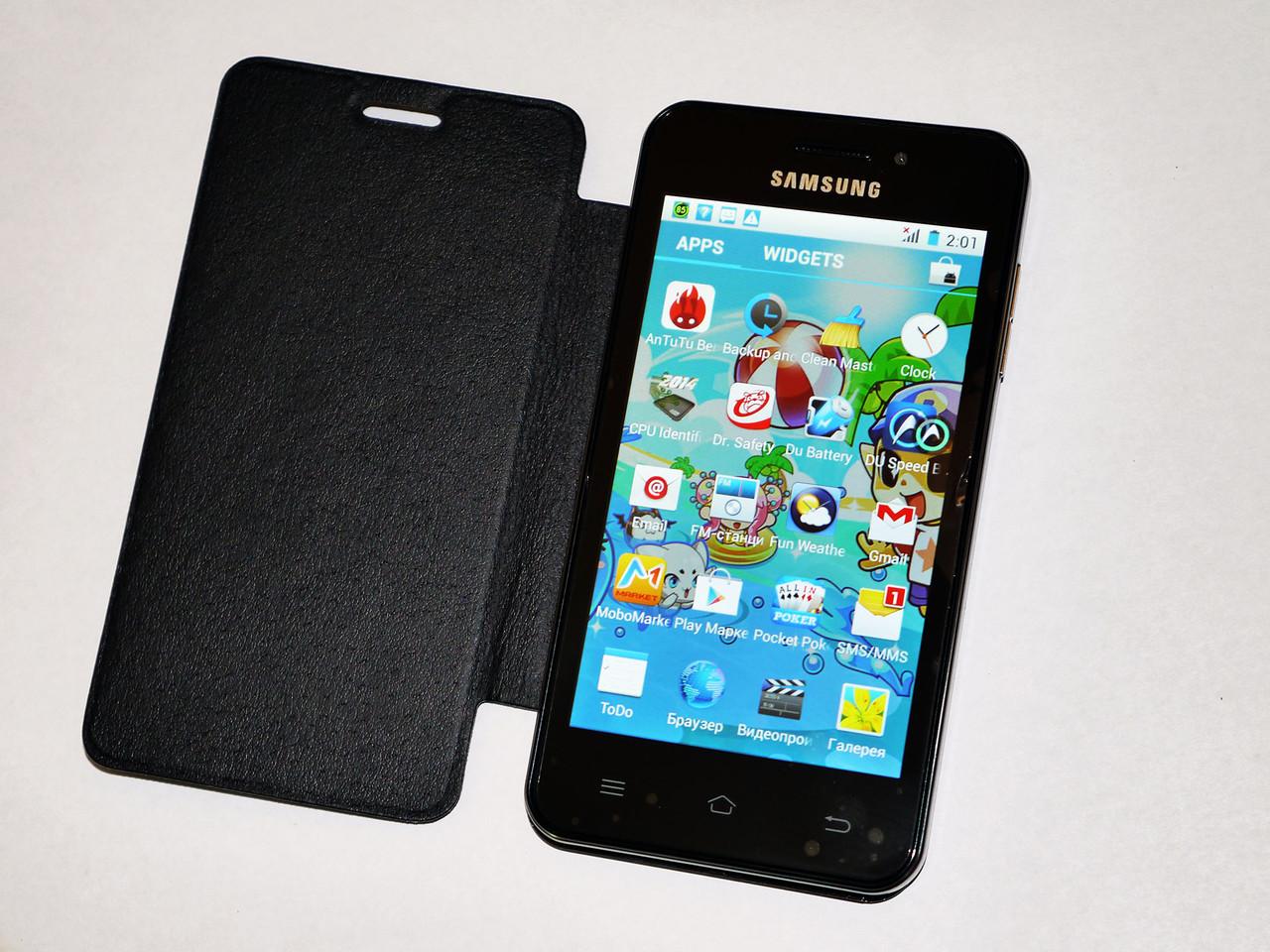 "Телефон Samsung HD888 экран 4.5"" 4 ядра, WiFi, 2 sim, Android 4.2.2, камера 5MP, Черный - Чехол в подарок!"