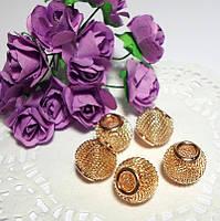 Бусина-ажурная сетка, металл, 12мм, цвет-  золото,   для украшений в стиле Пандора