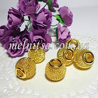 Бусина-ажурная сетка, металл, 12мм, цвет-желтое золото,   для украшений в стиле Пандора