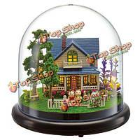 Cuteroom кукольный миниатюрный романтический дом комплект с поделок крышкой и LED