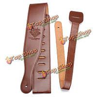 Коричневый регулируемый мягкий кожаный PU толщиной гитары ремешок для электрической акустической бас-гитары