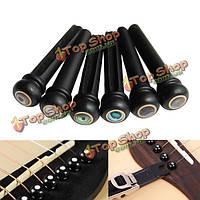 6шт ушко черное дерево гитары мост кости булавки набор для акустической гитары