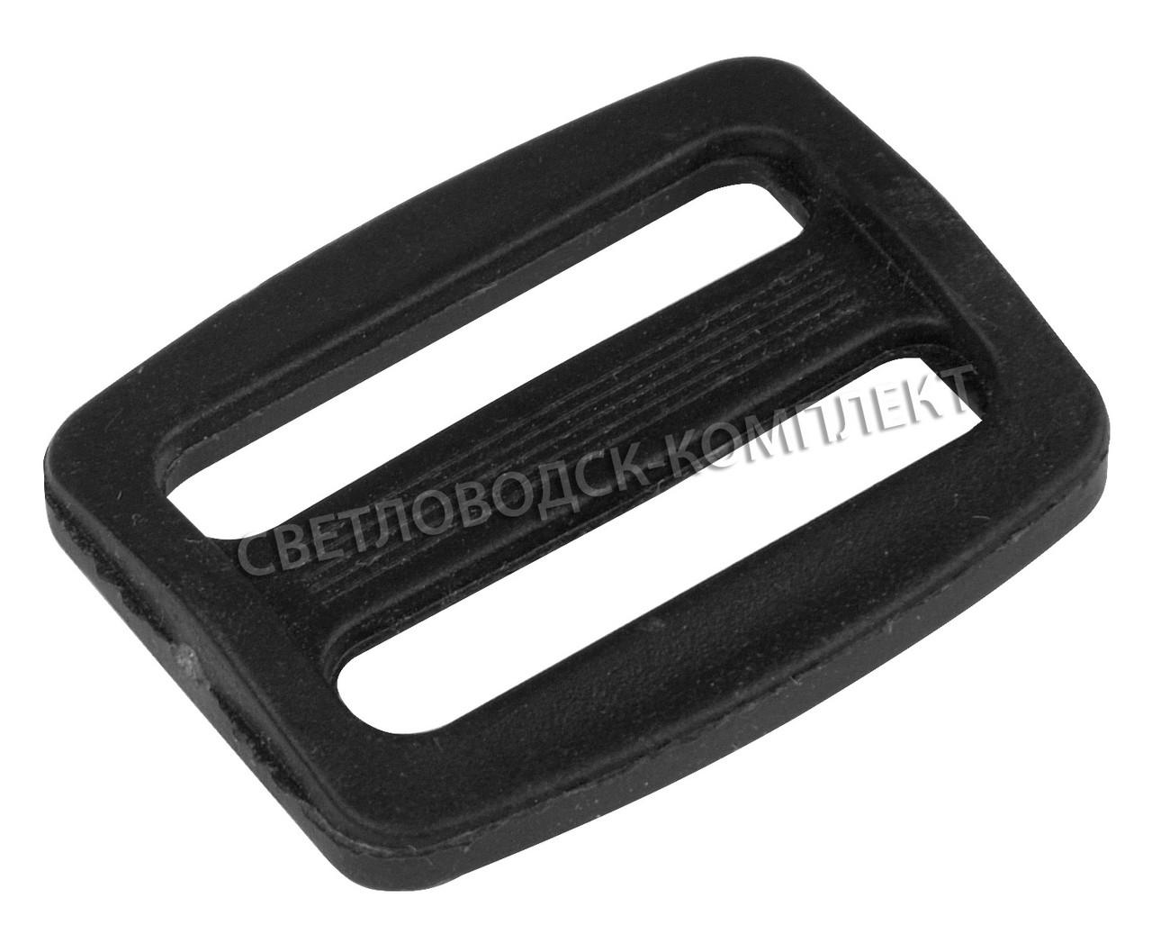 Пряжка 2-х щелевая 25 мм пластик, цв. чёрный, арт. РП/2-2515
