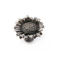 """Ручка кнопка  мебельная стилизованная  NL-PP-06300 """"Цветок подсолнуха"""" античная платина, фото 1"""