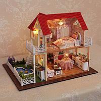 Двухэтажный кукольный домик с мебелью