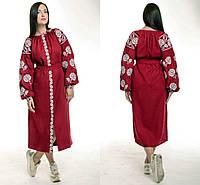 Женское вышитое бордовое платье на льне
