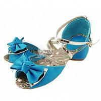 Босоножки лазурные (голубые) «Джульетта» с бантиком, Голубой, 40
