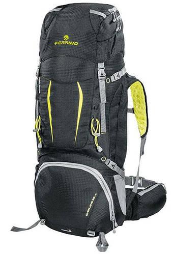Большой технологичный рюкзак для похода Ferrino Overland 65+10 Black/Yellow 922871 черный