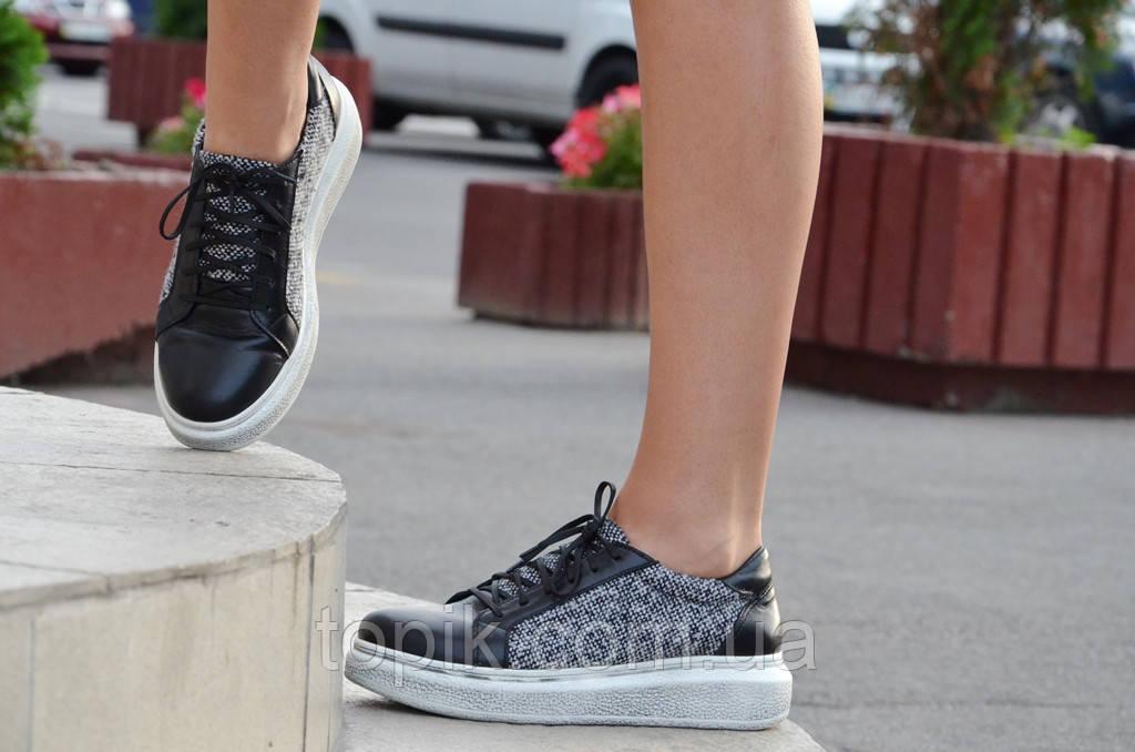 37052233dbbd ... фото Туфли ботинки кроссовки кожа черные женские с текстильной вставкой  (Код  31), ...