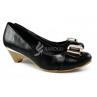 Туфли женские черные на каблучке, Черный, 41