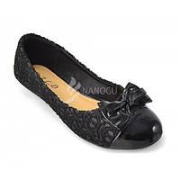 Балетки женские черные ажурные с лаковым носком «Jam», Черный, 41