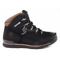 Ботинки мужские зимние кожаные на меху Brown Oiled Nubuck, Черный, 40