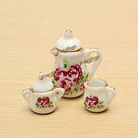 Цветок фарфора керамический кукольный миниатюрный чайный сервиз кофейный чашку блюдцем