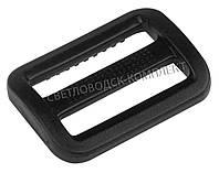 Пряжка 2-х щелевая 25 мм пластик, цв. чёрный, арт. РП/2-2519