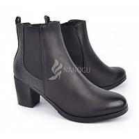 Ботильоны женские демисезонные на широком каблуке черного цвета Juliet, Черный, 38