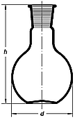 Колба плоскодонная 25мл, со шлифом 14/23, Boro 3.3, ТС