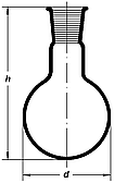 Колба круглодонная 25мл, со шлифом 14/23, Boro 3.3, ТС