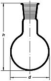 Колба круглодонная 50мл, со шлифом 29/32, Boro 3.3, ТС