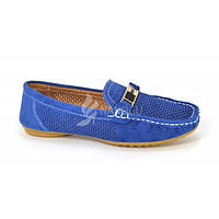 Мокасины женские синие натуральная замша «Лазурные», Синий, 38