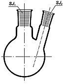 Колба круглодонная с двумя горлов. 500мл, со шлифами 29/32-19/26, Boro 3.3, ТС